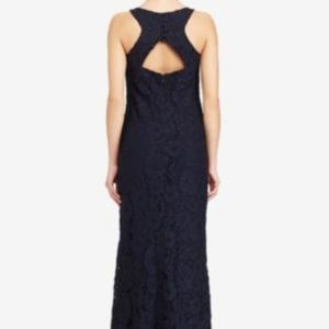 NWT Navy Floral Lace Halter Formal Evening Gown 8